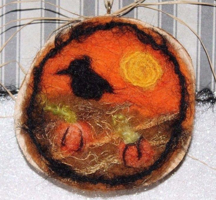 Needle felted Halloween Folk Art Cedar Wood Ornament Crow Pumpkin Patch USA #MelissaPhilbrookArt
