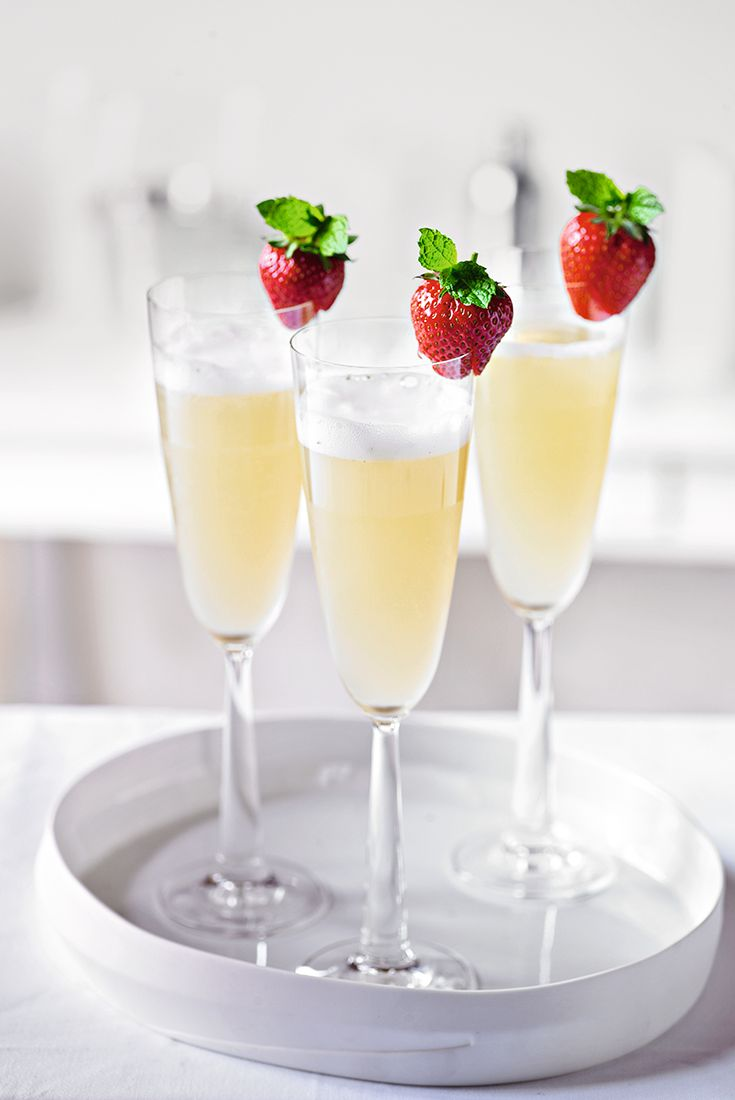 Try this elderflower bellini cocktail recipe and top with a fresh strawberry for a refreshing treat.