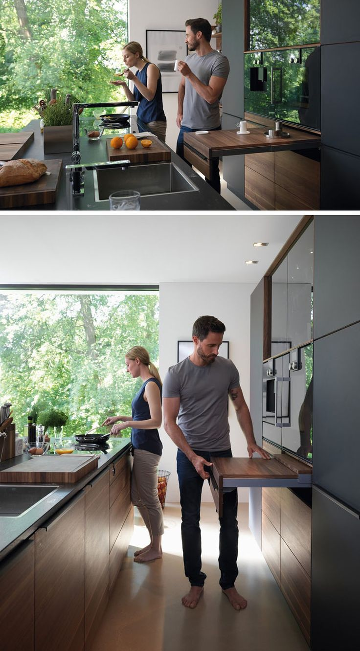 Kitchen Design Idea - Pull-Out Counters (10 Pictures) // An adjustable pull-out counter gives you the freedom to create as much or as little additional counter space as you need. Cozinha com prateleira deslizante. Cozinha com mesinha de apoio embutida.
