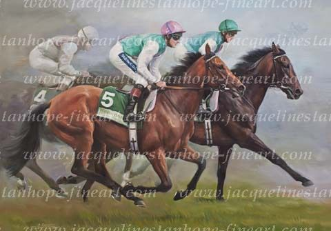 Midday and Twice Over  MIDDAY – Winner of the Prix Vermeille, Yorkshire Oaks, Nassau Stakes (three times) and the Breeders' Cup Filly and Mare Turf.  TWICE OVER – Winner of the Juddmonte International Stakes, Coral Eclipse Stakes and the Emirates Airlines Champion Stakes (twice). Painting by Ian Mongan.