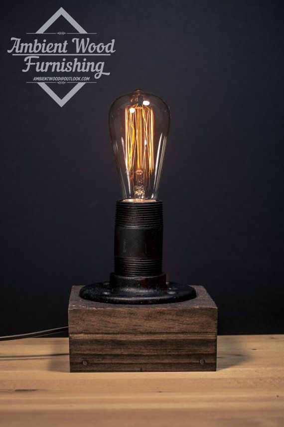 Cottage Style Desktop Lamp with Iron Pipe & Pine by AmbientWood