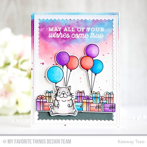Beary Special Birthday Stamp Set and Die-namics, Cool Cat Stamp Set and Die-namics, Big Birthday Sentiments Stamp Set, Stitched Rectangle Scallop Frames Die-namics, Blueprints 25 Die-namics - Keeway Tsao  #mftstamps