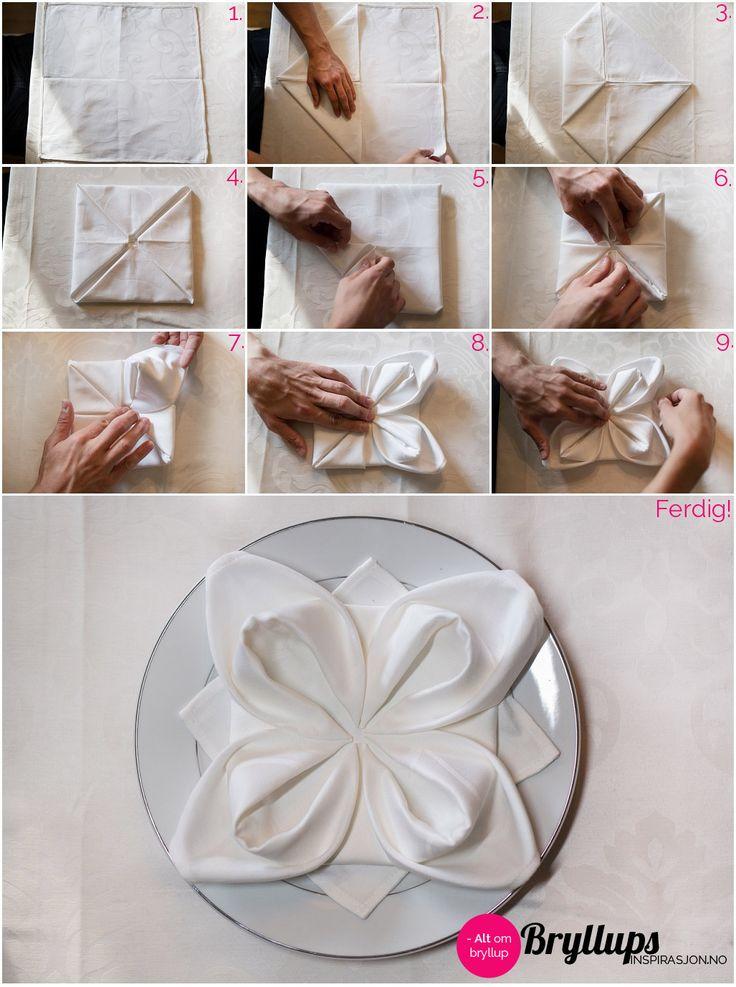Brette servietter: Lag en blomst - BryllupsinspirasjonBryllupsinspirasjon