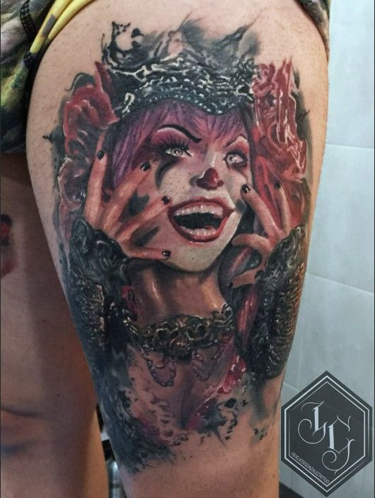 Fantastic artwork! Mad claoun tattoo