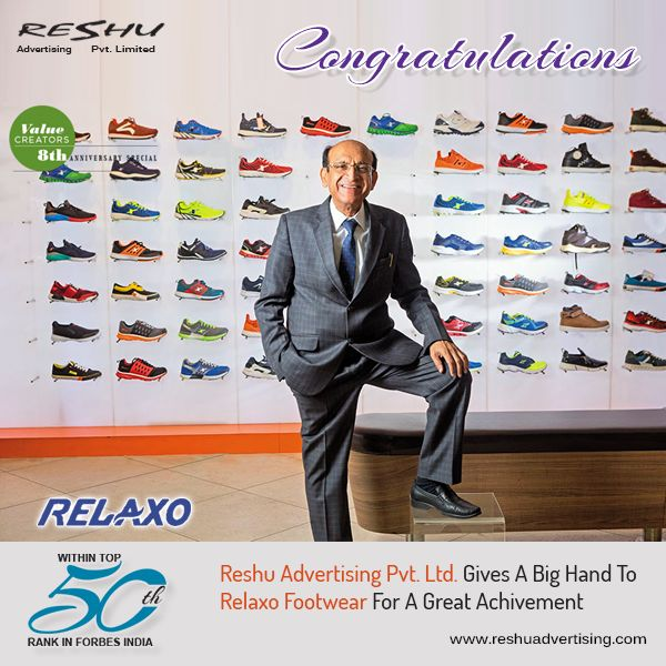 #ReshuAdvertising Gives A Big Hand To #Relaxo Footwear For A Great #Achivement i.e. Get within top 50th rank in #ForbesIndia.  #RelaxoFootwear