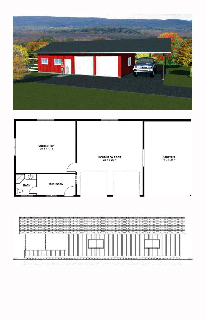3 Car Garage Plan 90993   Total Living Area: 550 sq. ft. with one 3/4 bath. Garage Area: 1011 sq. ft. #garageplan
