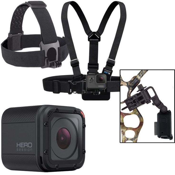 GoPro - Hunt & Fish Bundle - Hero Session HD Waterproof Action Camera, Chest Mount Harness, Bow Mount, Head Strap & QuickClip