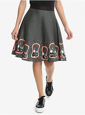 "<div>This retro-inspired Cantina Band skirt features a starry field and the smooth swinging sounds of Figrin D'an and the Modal Nodes. Match it with our Cantina Band Tee and you have the perfect ensemble for a night out at the Mos Eisley Spaceport! Back zipper closure. </div><div><ul><li style=""list-style-position: inside !important; list-style-type: disc !important"">Officially licensed by Her Universe</li><li style=""list-style-position: inside !important; list-style-type: disc !importa..."