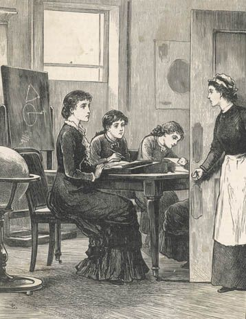 A governess teaches children at home. The lesson is interrupted by the family's maidservant. BBC - Primary History - Victorian Britain - Victorian schools