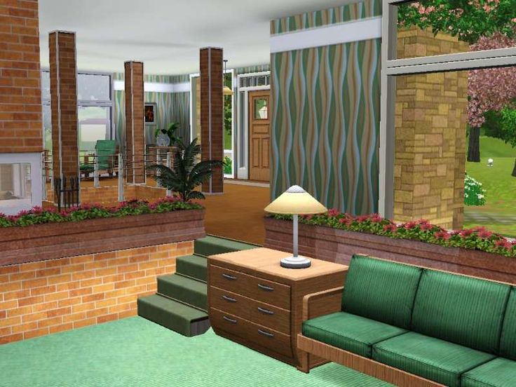 Split level living room the sims ideas pinterest for Living room ideas sims 3