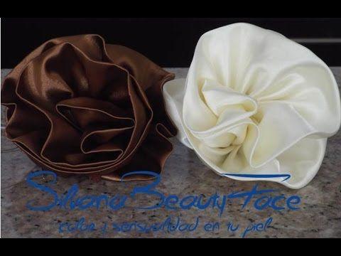 Como elaborar Coleta con flor kanzashi en cinta o tela para decorar peinados cebolla, #523 - YouTube