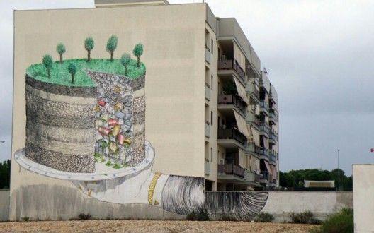 Arte urbano: Mural de Blu en Grottaglie, Italia.