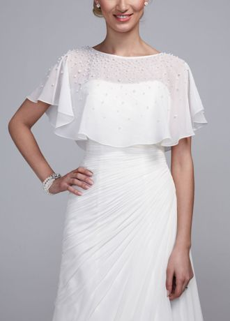 Add this trendy cape to your ensemble for a stylish finish!  This chiffon cape is adorned with beautiful pearls on the bodice.  Available in Ivory.  Imported. Dry clean only.