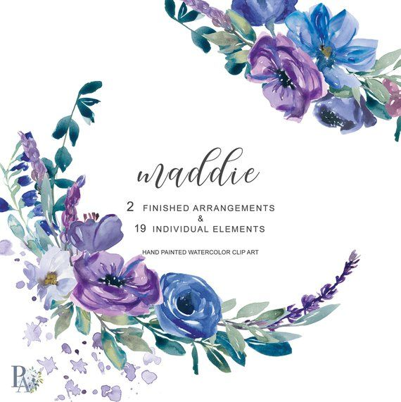 Hand Painted Watercolor Wedding Flowers Clip Art Purple And Blue Floral Bouquets Isolated Elements Commercial Use Maddie Wedding Flower Clips Flower Clipart Clip Art