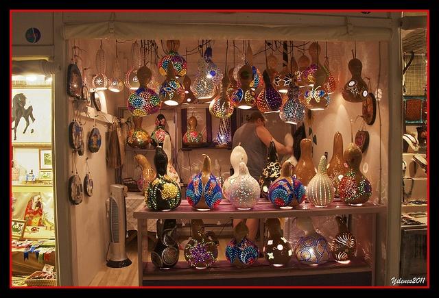 Hand made light fixtures made from gourds, Gumusluk Bodrum,TURKIYE