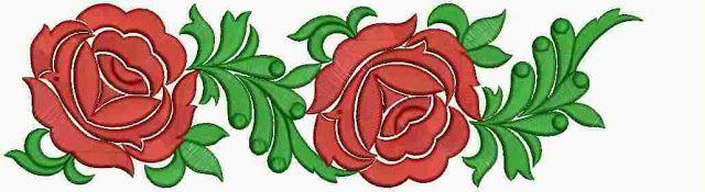 Rooi roos Floral figuur Geborduurde Kant grens