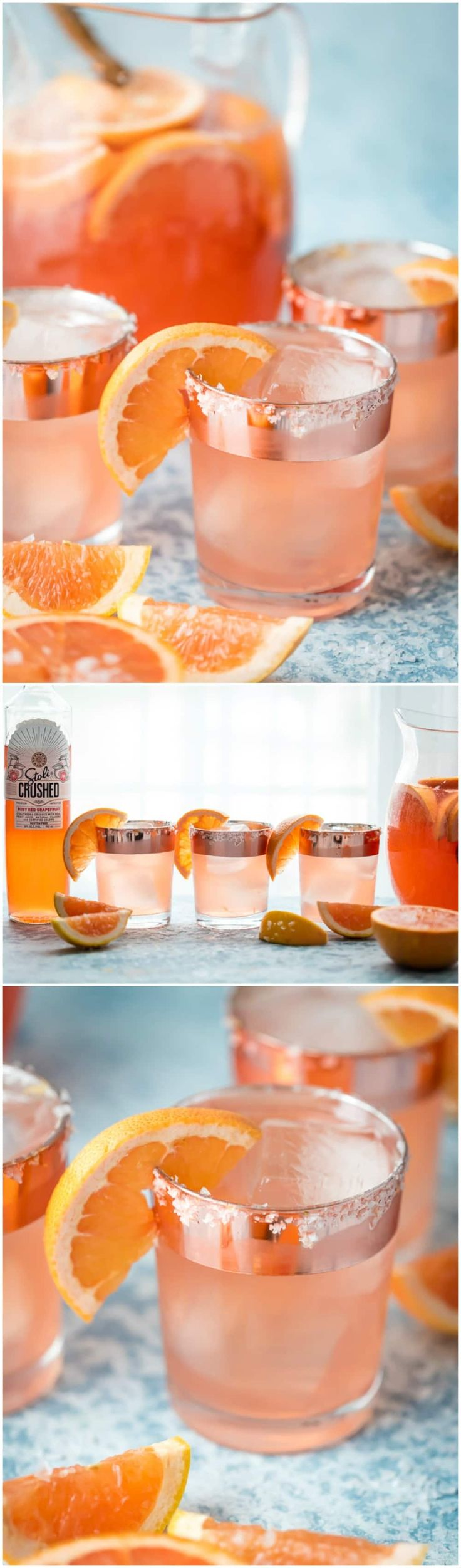 SALTY DOG SANGRIA is the ultimate refreshing Summer cocktail! Grapefruit vodka, juice, rose, club soda, and simple syrup come together in one refreshing and beautiful sip. via @beckygallhardin