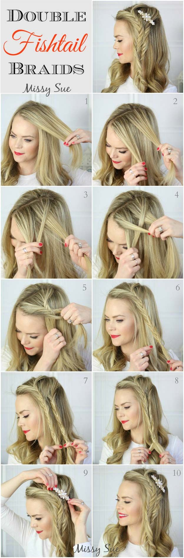 Best Hair Braiding Tutorials - Braid 5-Double Fishtail Braids - Easy Step by Step Tutorials for Braids - How To Braid Fishtail, French Braids, Flower Crown, Side Braids, Cornrows, Updos - Cool Braided Hairstyles for Girls, Teens and Women - School, Day and Evening, Boho, Casual and Formal Looks http://diyprojectsforteens.com/hair-braiding-tutorials