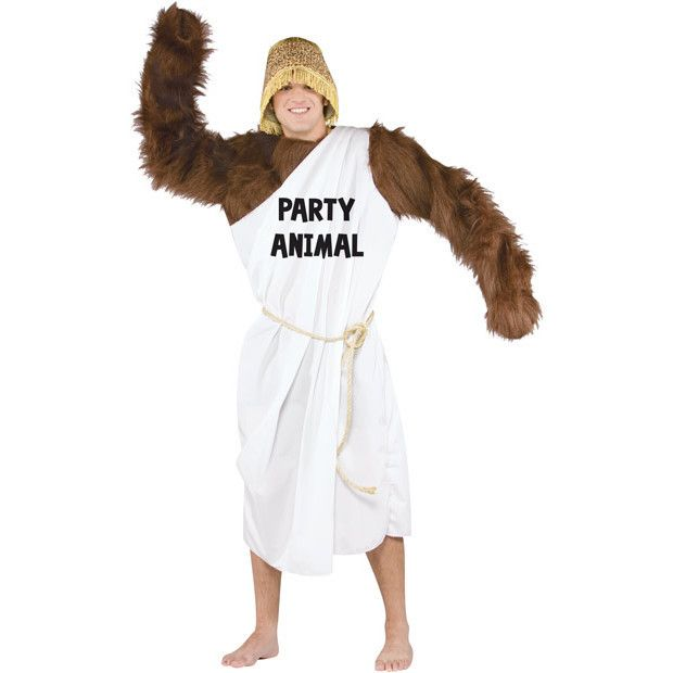 Our adult party animal costume is a very unique and funny Halloween costume. This college toga costume is great for any Halloween college party. - White toga with party animal print - Furry arms - Rop