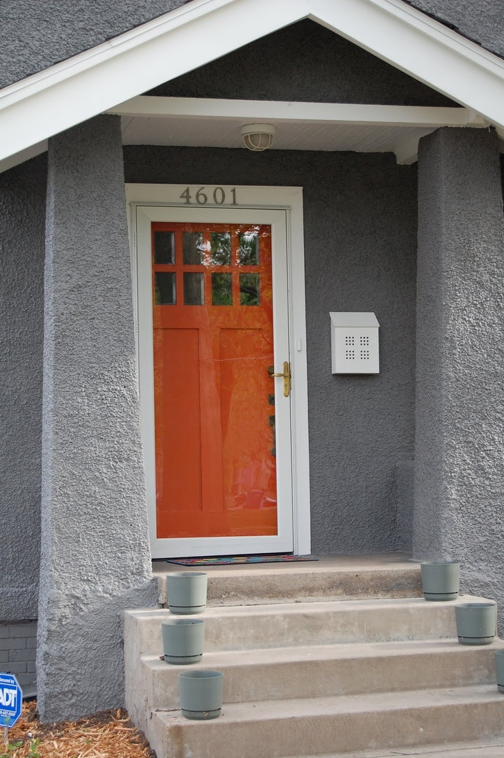 Front door colors for gray house - Gray Exterior With Bright Front Door Persimmon Might Not Be The Right Choice Though