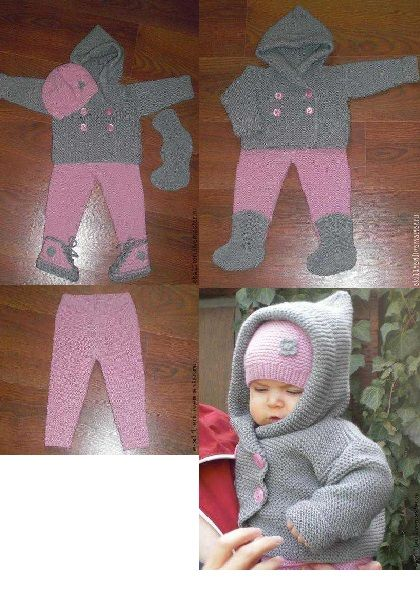 Very nice, cozy, warm suit: jacket, pants, hat, booties, sneakers, boots and booties. Your baby will be very comfortable and cozy in this set. I can make a similar kit for the boy, combining gray with blue or dark blue or by using different colors up to your choice. Hand-knit. I can also knit any one thing separately. Related material: pink yarn - wool, acrylic; gray thread - bamboo fiber, wool, acrylic; buttons.