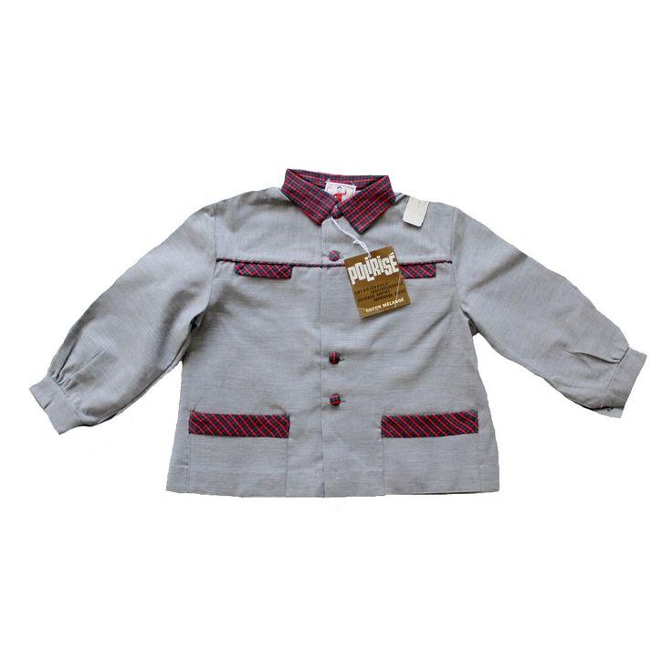 VINTAGE 70's / enfant / blouse écolier / chemise / veste / gris + carreaux / stock ancien neuf / taille 2 ans par Prettytidyvintage sur Etsy https://www.etsy.com/fr/listing/203975027/vintage-70s-enfant-blouse-ecolier