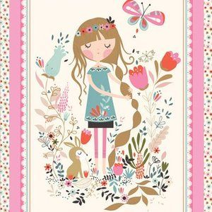 Tea and Sympathy - Beautiful Garden Girl - Garden Girl Panel in Primrose