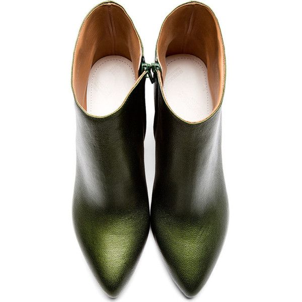 Maison Margiela Olive Leather Pointed Ankle Boots (294 CAD) ❤ liked on Polyvore featuring shoes, boots, ankle booties, pointed-toe boots, pointed toe ankle boots, leather bootie, short boots and pointy toe bootie