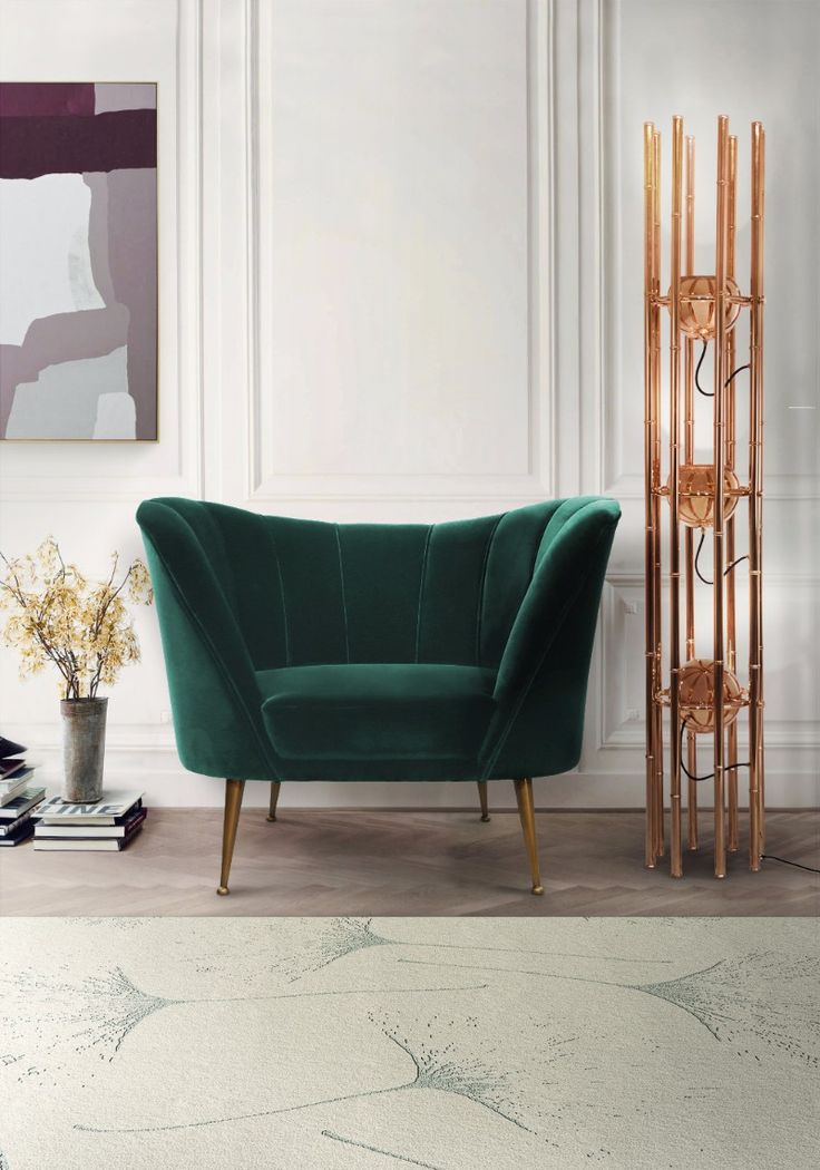 ANDES armchair is a mid-century modern furniture piece made in cotton velvet that will be the star of your living room furniture set. Next to it, KENDO contemporary floor light stands gracefully while MACUSHI wool rug is the perfect large rug to decorate a family space in any modern home decor. Discover more: http://brabbu.com/all-products/
