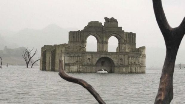 The remains of a mid-16th century church are visible from the surface of the Grijalva River.