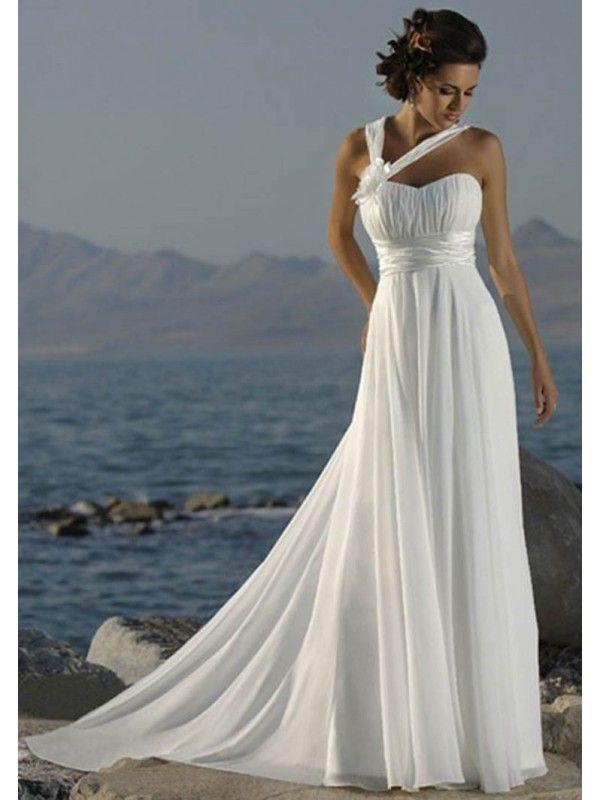 A-Line One-Shoulder Empire Waistline Chiffon Beach Wedding Dresses, Satin Sash Ruffles Beach Wedding Dress