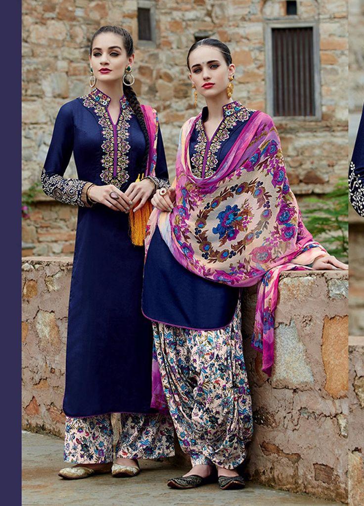 $69.41 Navy Blue Cotton Satin Punjabi Suit 57771