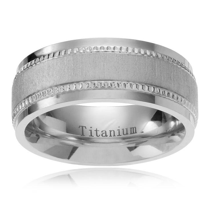 Territory Men's Titanium Satin Finish Center Milgrain Edge Wedding Band (8mm)