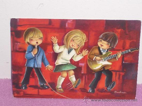 POSTAL CON DIBUJO DE CONSTANZA ... CONJUNTO MUSICAL ** ORIGINAL - AÑOS 70 (Postales - Dibujos y Caricaturas)