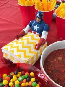 Captain America napkin holder for the Avenger's themed party