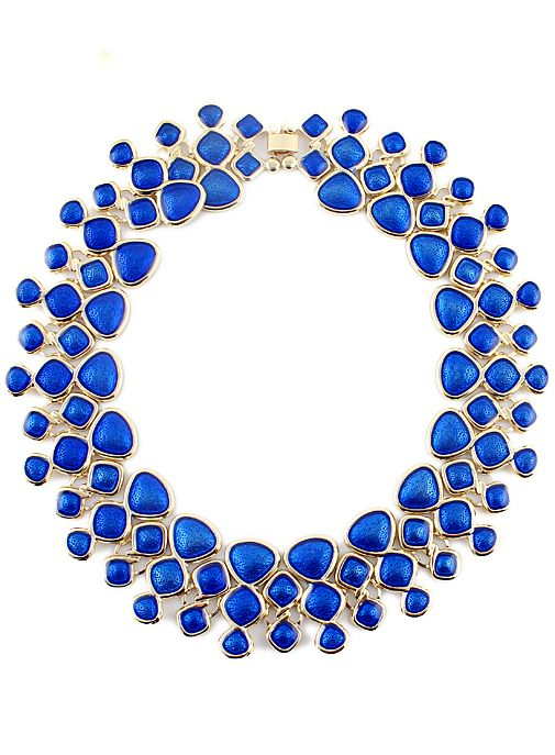 Blue Gemstone Gold Geometric Necklace | Sheinside.com $8.13  Blue my mind. www.sisterswithbeauty.com Approved