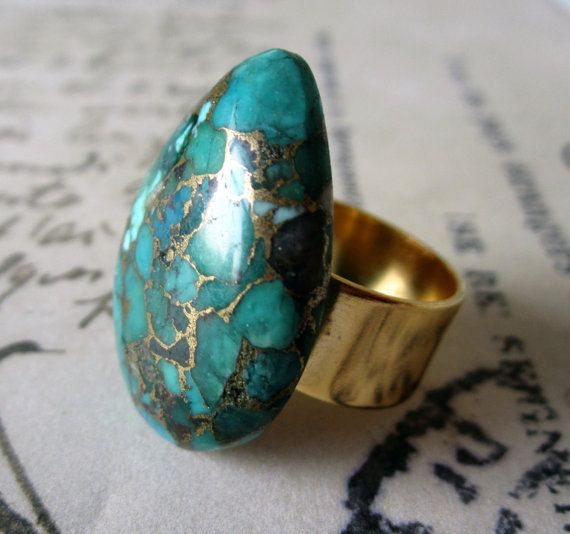 Turqoise Ring. Turquoise with Copper Cabochon. Gold Plated Adjustable Ring.  ($25)