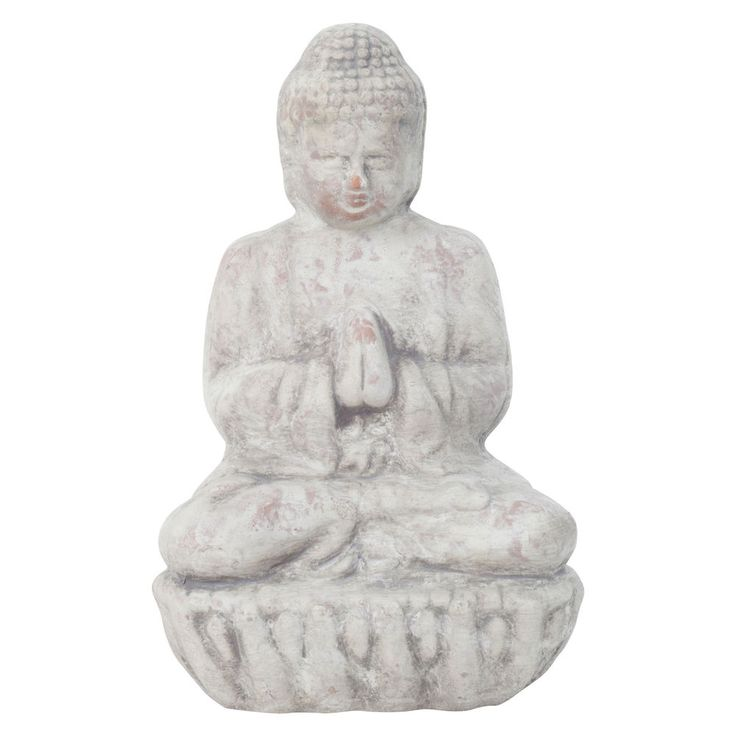 Sitting Buddha Statue Home Garden Ornament Aged Grey Terracotta Small 17cm  #Gardens2you