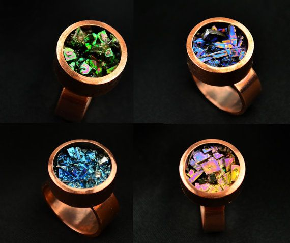 Copper and Bismuth Crystal Ring from my Nolan-proof Line, Custom Order, Iridescent Bismuth Metal Crystal, Jewelry on Etsy, $39.95