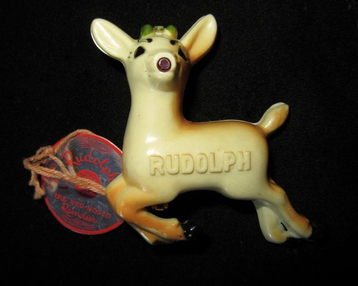 1930's Celluloid Light Up Rudolph Red Nosed Reindeer Christmas Pin by Original creator of Rudolph Robert L. May kbcate on ebay