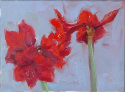 "Daily Paintworks - ""Amaryllis Plant,still life,oil on canvas,9x12,price$400"" - Original Fine Art for Sale - © Joy Olney"