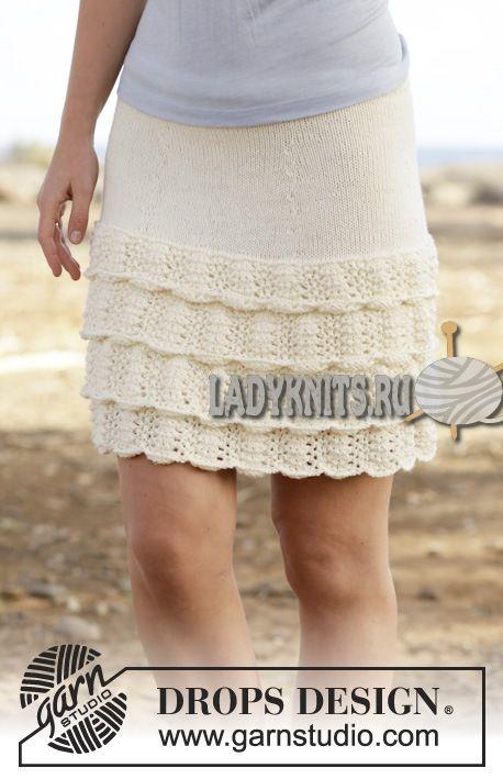 вязаная спицами юбка с воланами