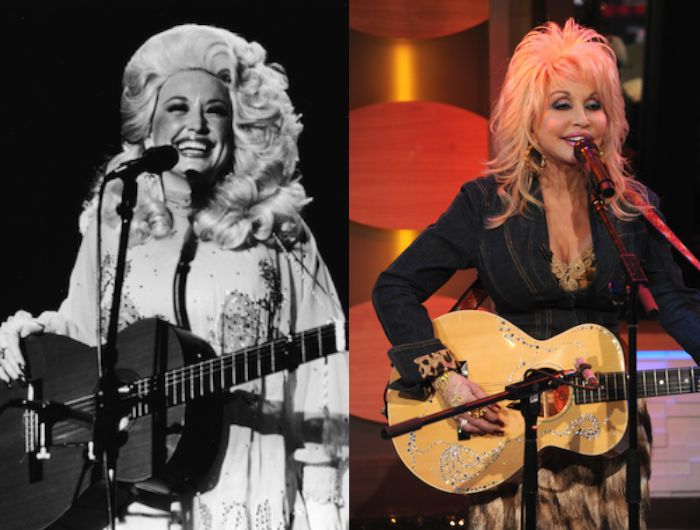 Dolly Parton Then: On stage, U.S., 1970. Age 24 Now: New York, N.Y., 2012. Age 66