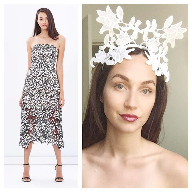 White lace crown / headpiece by Alea Headpieces. Perfect millinery / fascinator for the races. Shop what's available with worldwide shipping x
