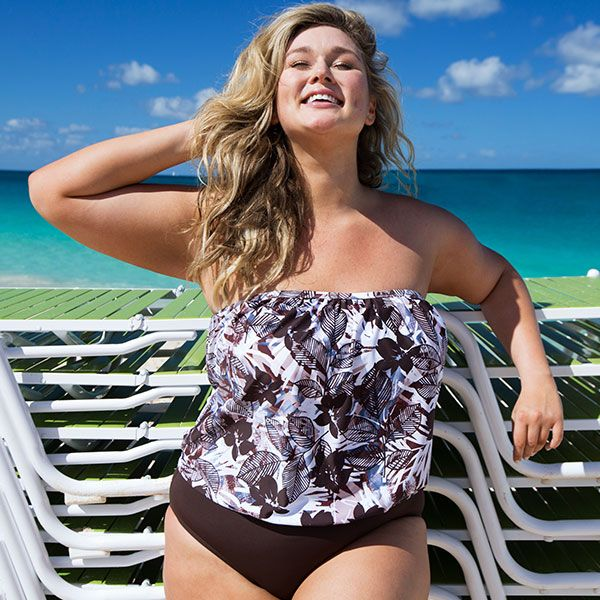 Neutral territory for everyone: the beach. Hunter McGrady in our Java Blouson Tankini.