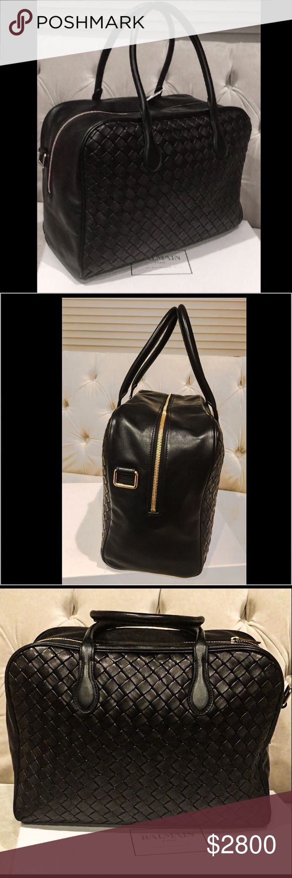 """Balmain Pierre Bag *Black leather Pierre bag  *Zip fastening with double puller in gold tone brass  *Gold tone studs at the bag's bottom  *Two handles, an adjustable shoulder strap  *Zipped pocket + two patched pockets inside  *Adjustable striped shoulder bag.                    SZ: Hight 9"""".   Length 14"""". Depth 6"""" Bags"""