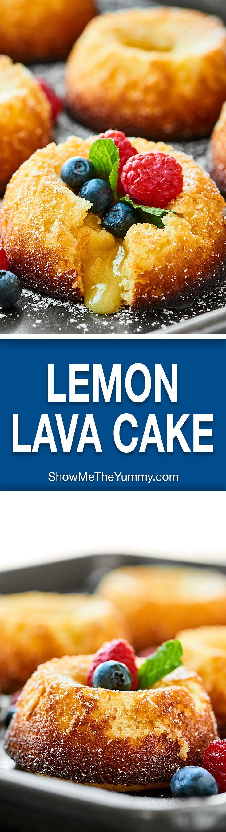An ultra tender cake with slightly crisp edges and a perfectly white chocolate lemon-y molten lava gooey center, this Lemon Lava Cake is surprisingly easy and so decadent! showmetheyummy.com #lemonlavacake #moltenlavacake