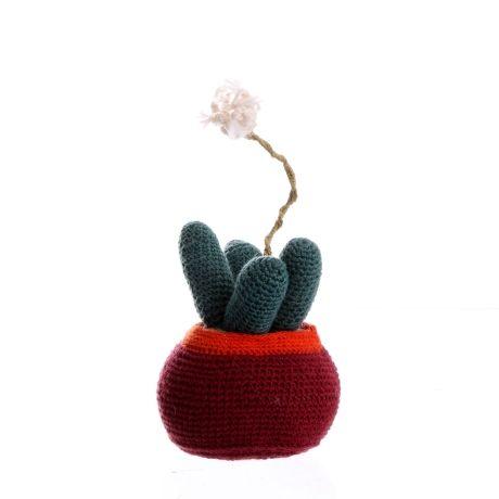 Spiky Horns Cactus White Flower – Rust, Blue & Stripe from PROJEKT Craft Art - R335 (Save 0%)