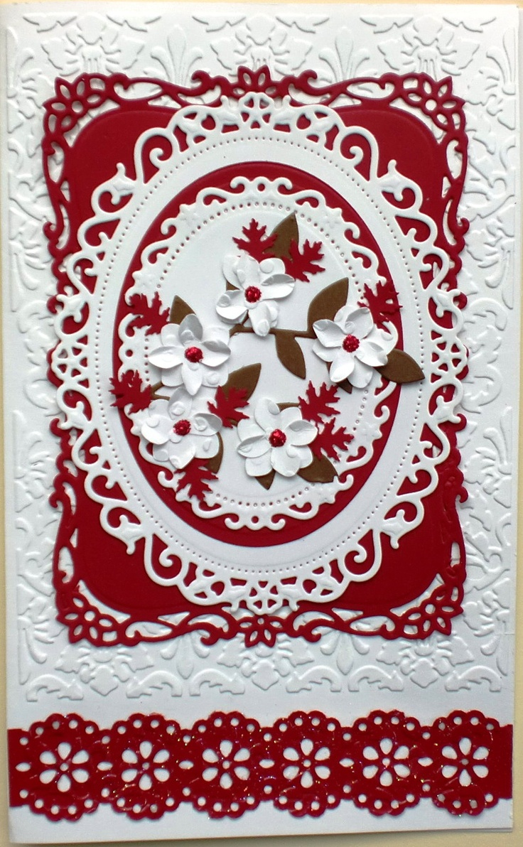Charmingly Creative: Holiday Flourish, Spellbinders Decorative labels eight and floral ovals, Martha Martha Stewart Double Edge Doily Lace Trim Punch