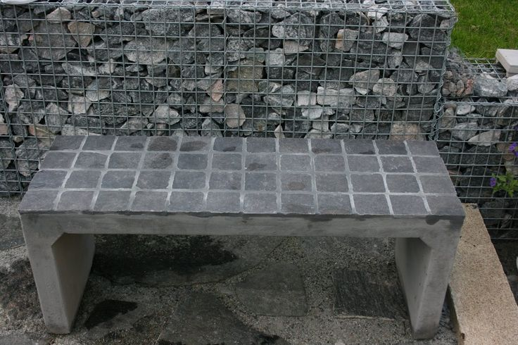 concrete bench with tiles